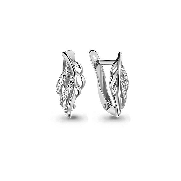 Серебряные серьги-классические с фианитом AQUAMARINE (#634925)