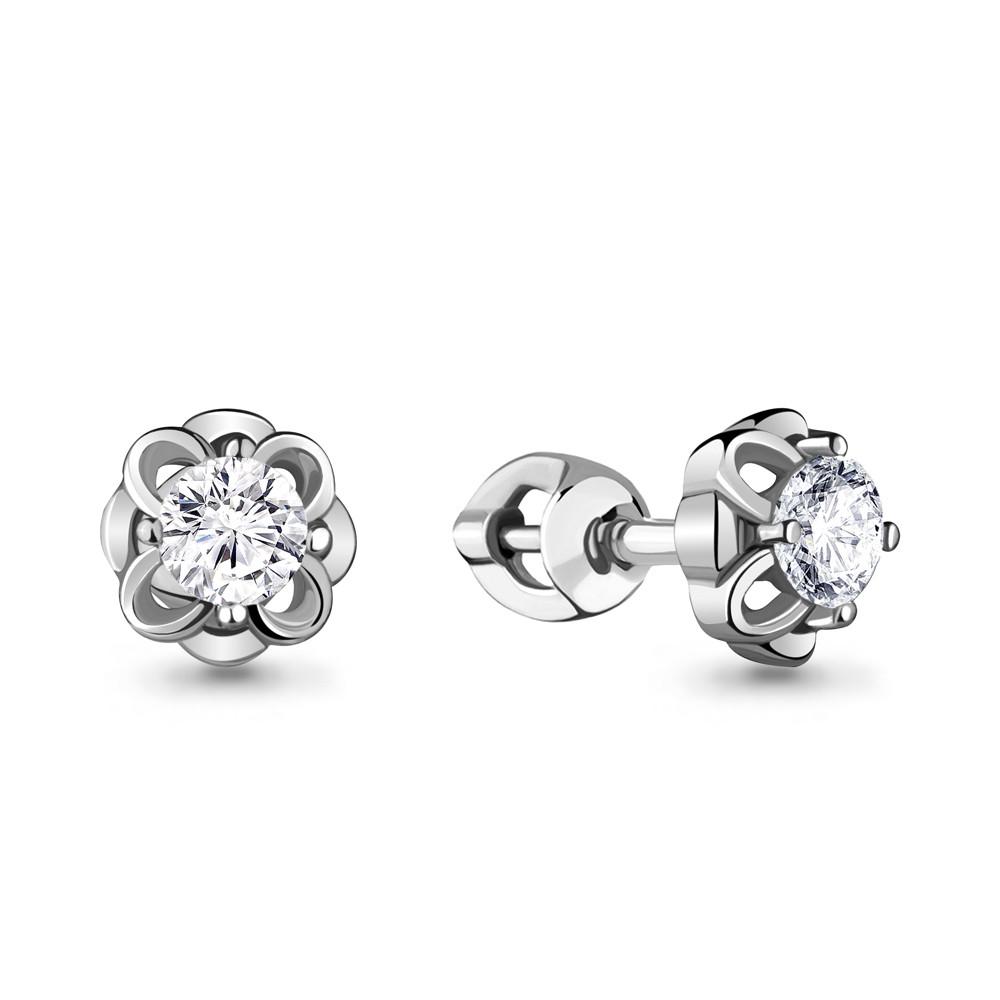 Серебряные серьги-пуссеты с фианитом AQUAMARINE (#715431)