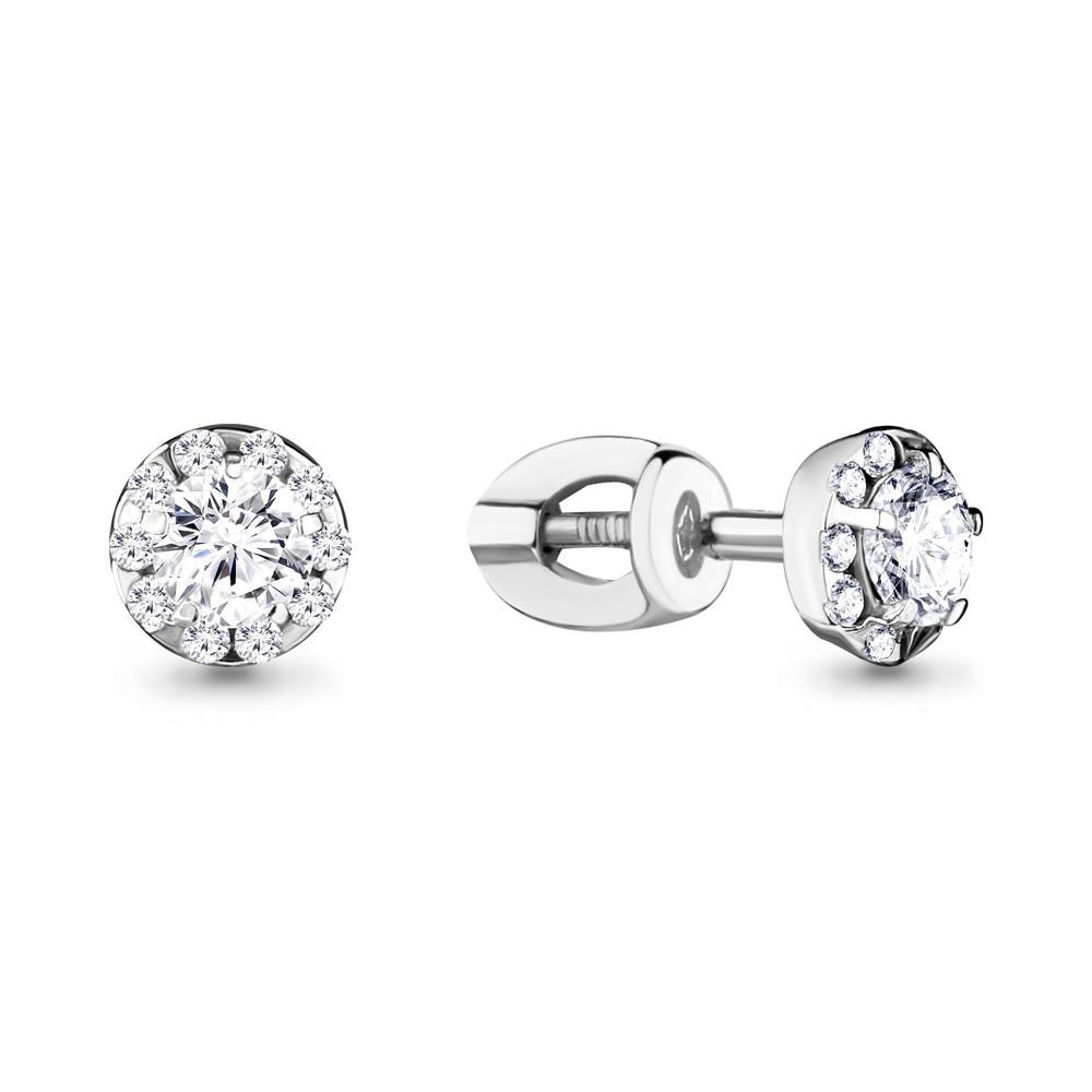 Серебряные серьги-пуссеты с фианитом AQUAMARINE (#708607)