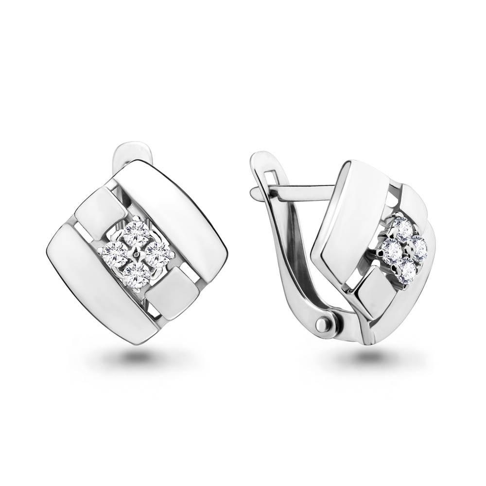 Серебряные серьги-классические с фианитом AQUAMARINE (#648853)