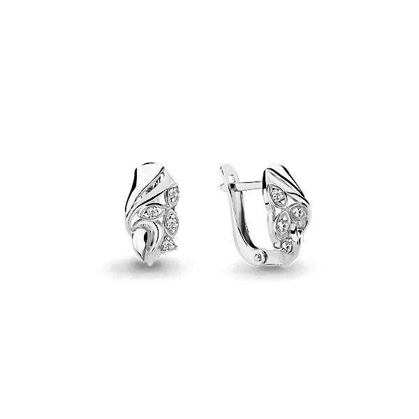 Серебряные серьги-классические с фианитом AQUAMARINE (#631756)