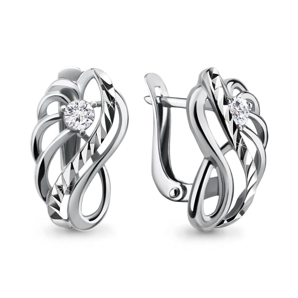 Серебряные серьги-классические с фианитом AQUAMARINE (#703792)