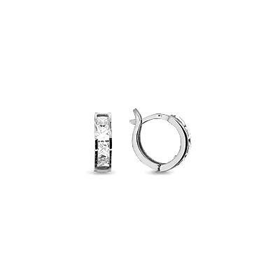 Серебряные Серьги-Кольца с фианитом AQUAMARINE (#696116)