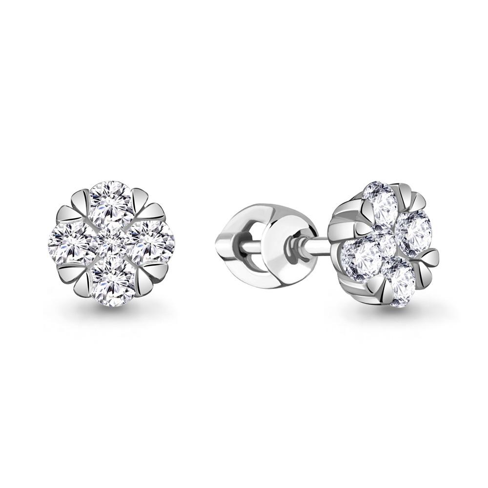 Серебряные серьги-пуссеты с фианитом AQUAMARINE (#711900)
