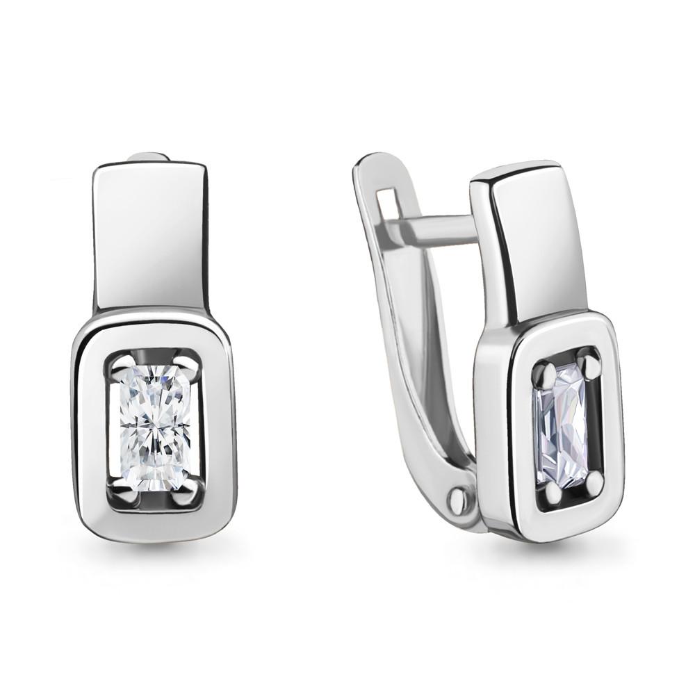 Серебряные серьги-классические с фианитом AQUAMARINE (#717242)
