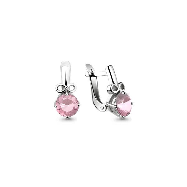 Серебряные серьги-классические с фианитом AQUAMARINE (#657300)