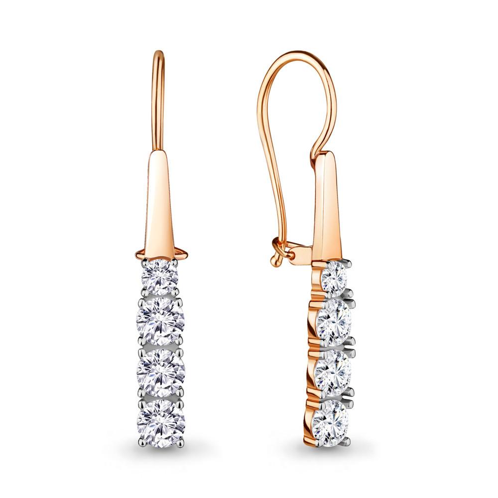Серебряные серьги-протяжки с фианитом AQUAMARINE (#716528)