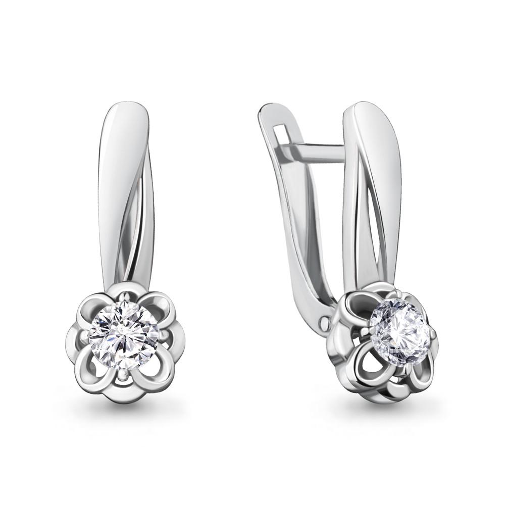 Серебряные серьги-классические с фианитом AQUAMARINE (#715429)