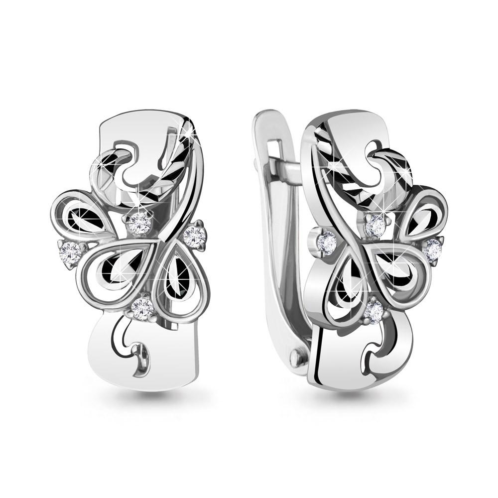 Серебряные серьги-классические с фианитом AQUAMARINE (#715426)