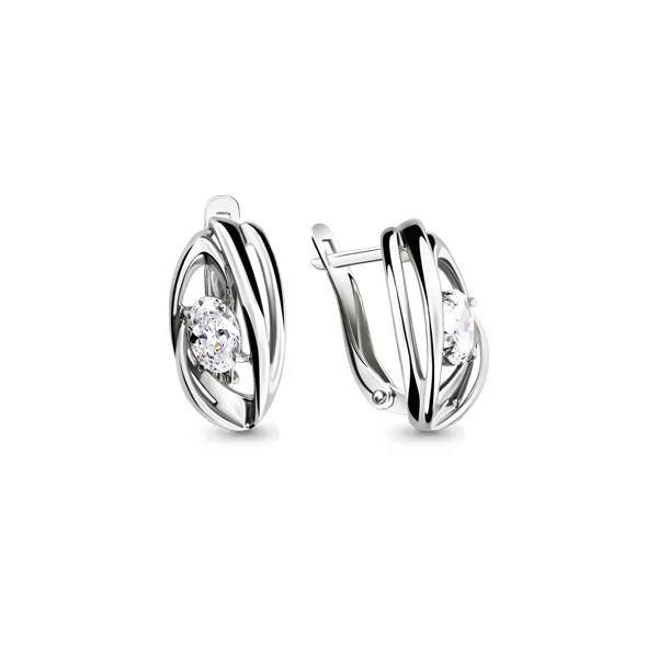 Серебряные серьги-классические с фианитом AQUAMARINE (#705711)
