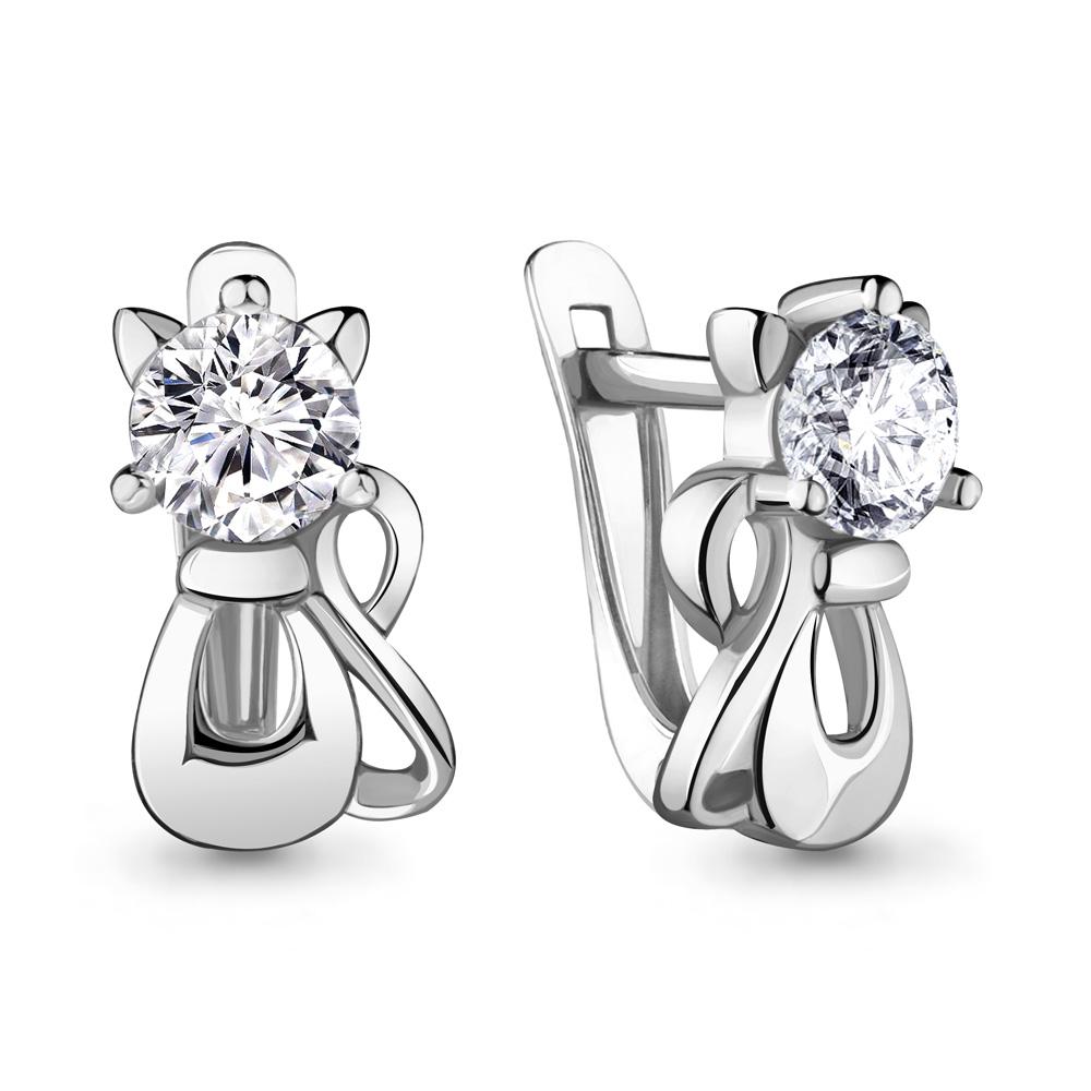 Серебряные  серьги-классические с фианитом AQUAMARINE (#706463)