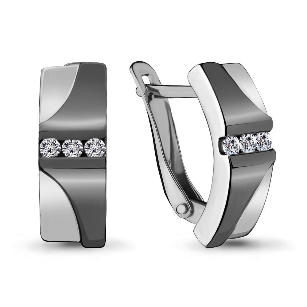 Серебряные серьги-классические с фианитом AQUAMARINE (#704787)