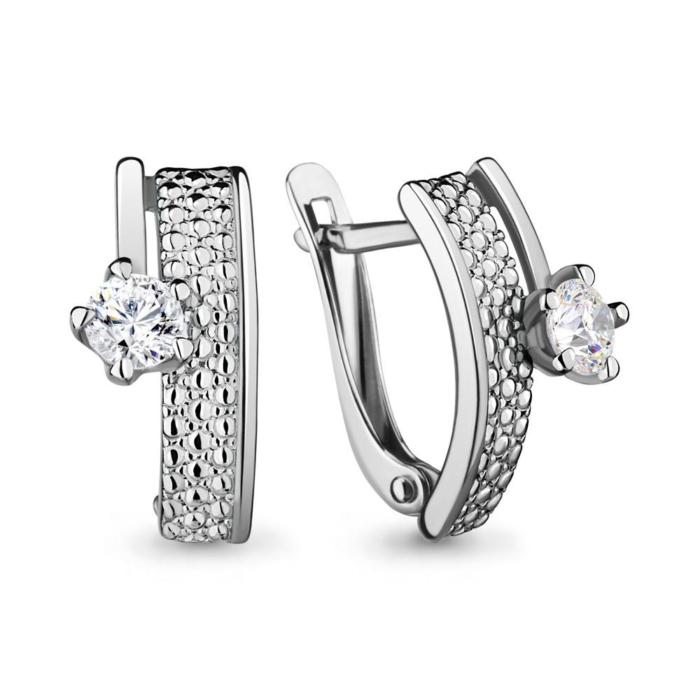 Серебряные серьги-классические с фианитом AQUAMARINE (#683178)