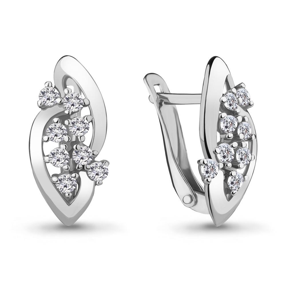 Серебряные серьги-классические с фианитом AQUAMARINE (#711556)