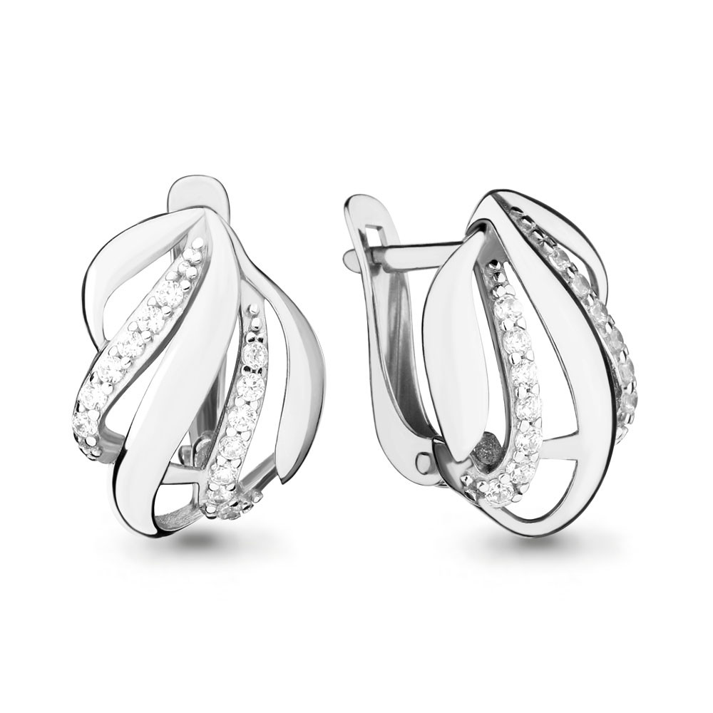 Серебряные серьги-классические с фианитом AQUAMARINE (#664952)