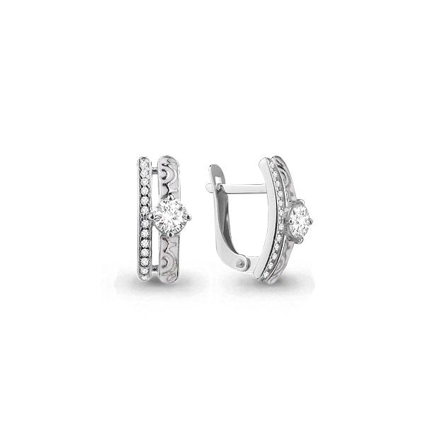 Серебряные серьги-классические с фианитом AQUAMARINE (#698664)