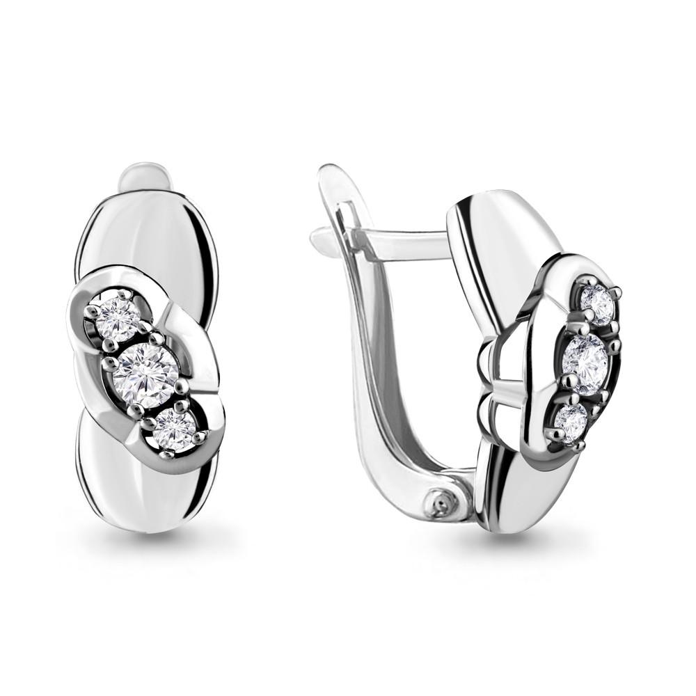 Серебряные серьги-классические с фианитом AQUAMARINE (#683166)