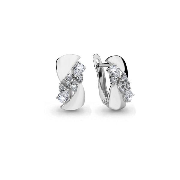 Серебряные серьги с фианитом AQUAMARINE (#627453)