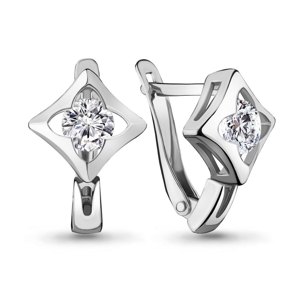 Серебряные серьги-классические с фианитом AQUAMARINE (#705744)