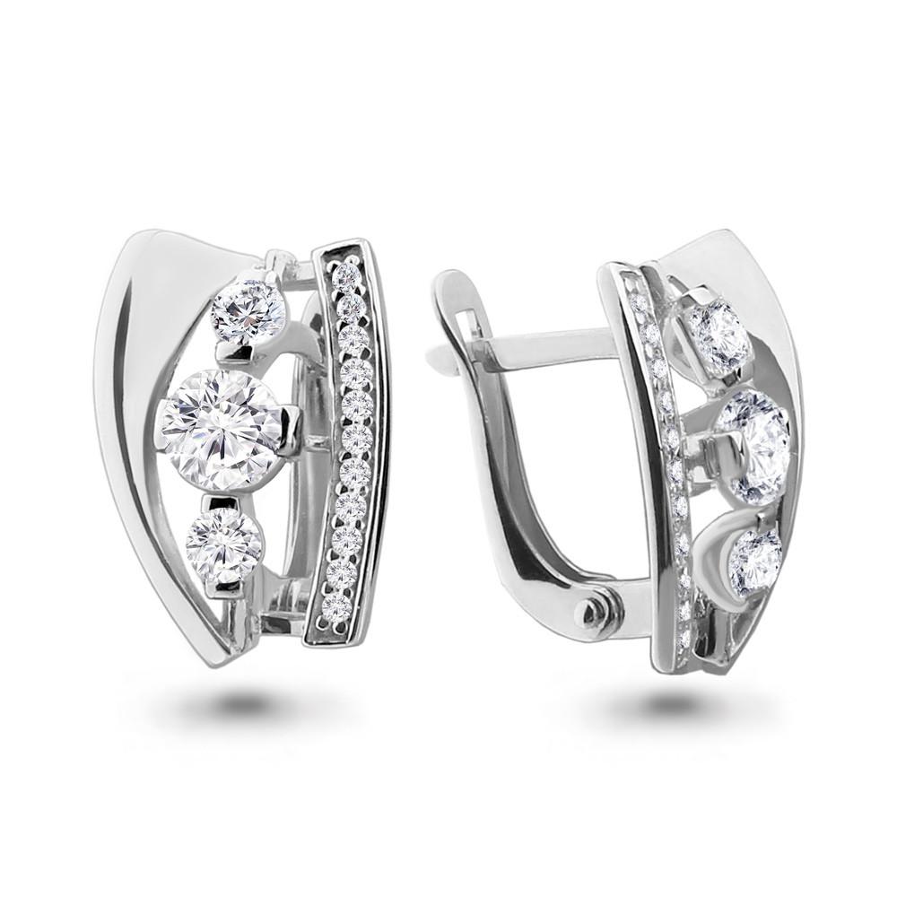 Серебряные серьги-классические с фианитом AQUAMARINE (#708609)