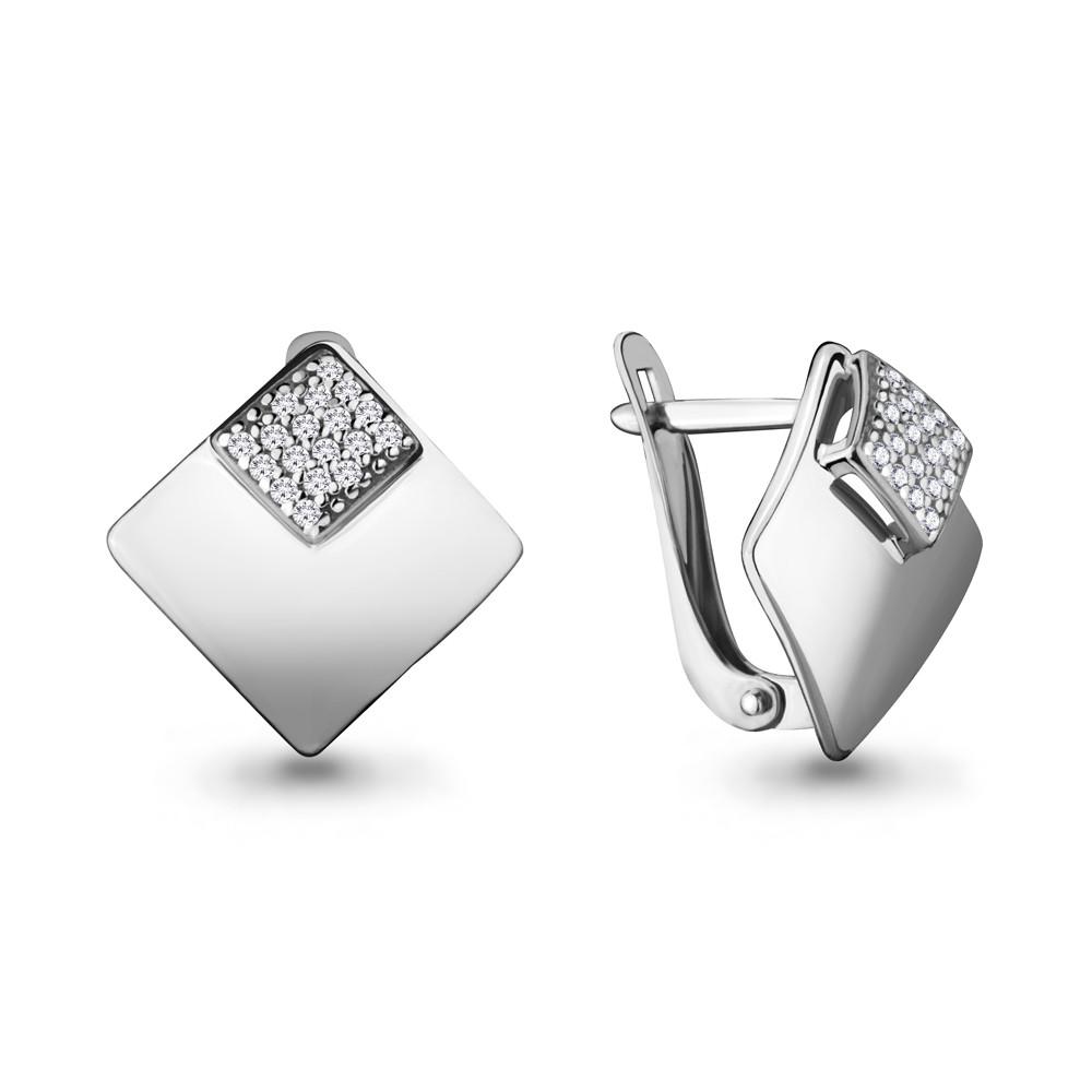 Серебряные серьги-классические с фианитом AQUAMARINE (#686420)