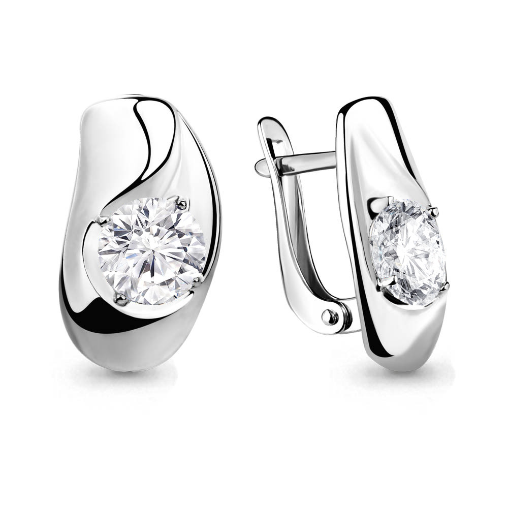 Серебряные серьги-классические с фианитом AQUAMARINE (#657702)