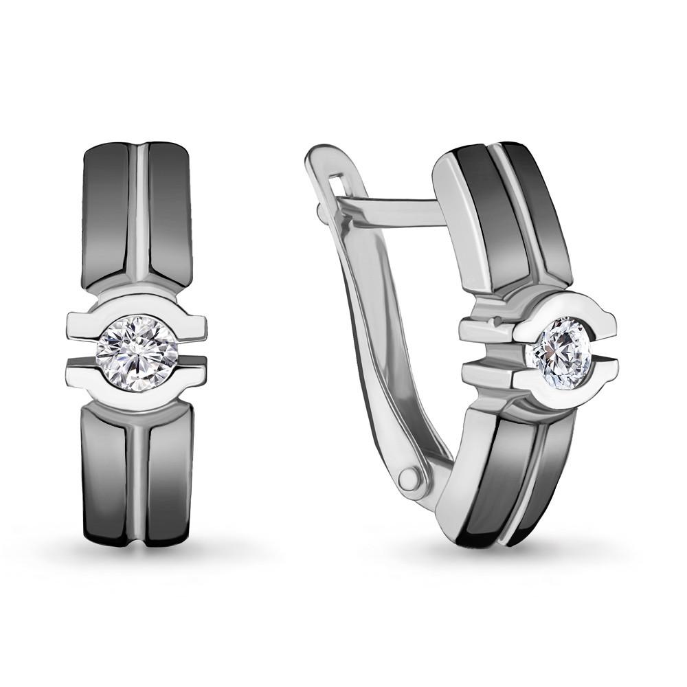 Серебряные серьги-классические с фианитом AQUAMARINE (#704785)