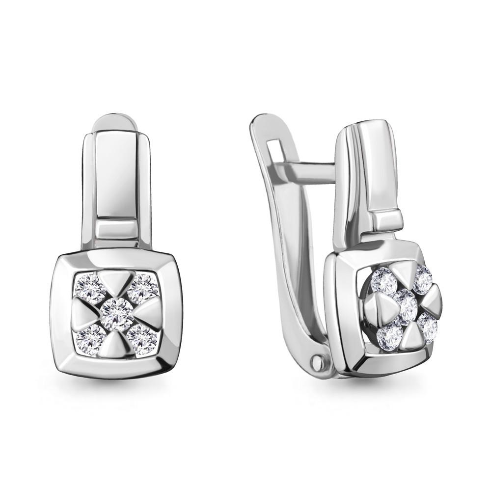 Серебряные серьги-классические с фианитом AQUAMARINE (#711894)