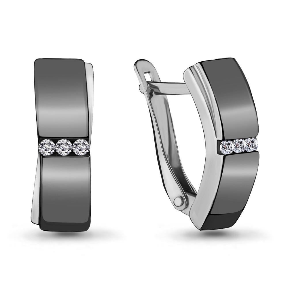 Серебряные серьги-классические с фианитом AQUAMARINE (#704786)