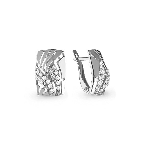 Серебряные серьги-классические с фианитом AQUAMARINE (#648852)
