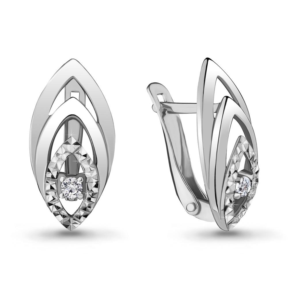 Серебряные серьги-классические с фианитом AQUAMARINE (#706480)