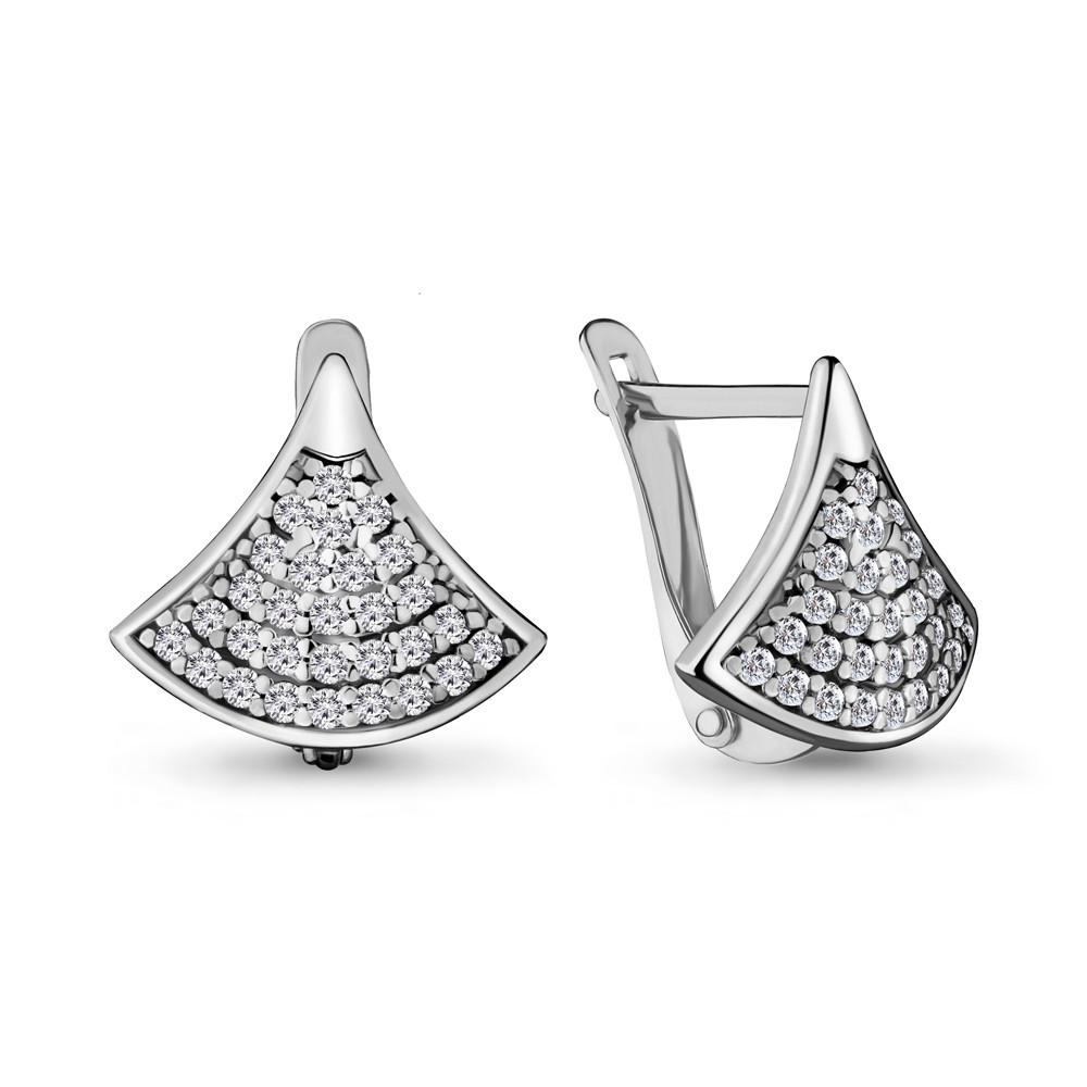 Серебряные серьги-классические с фианитом AQUAMARINE (#706475)