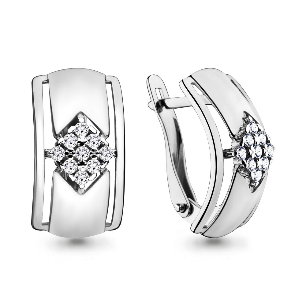 Серебряные серьги с фианитом AQUAMARINE (#644419)