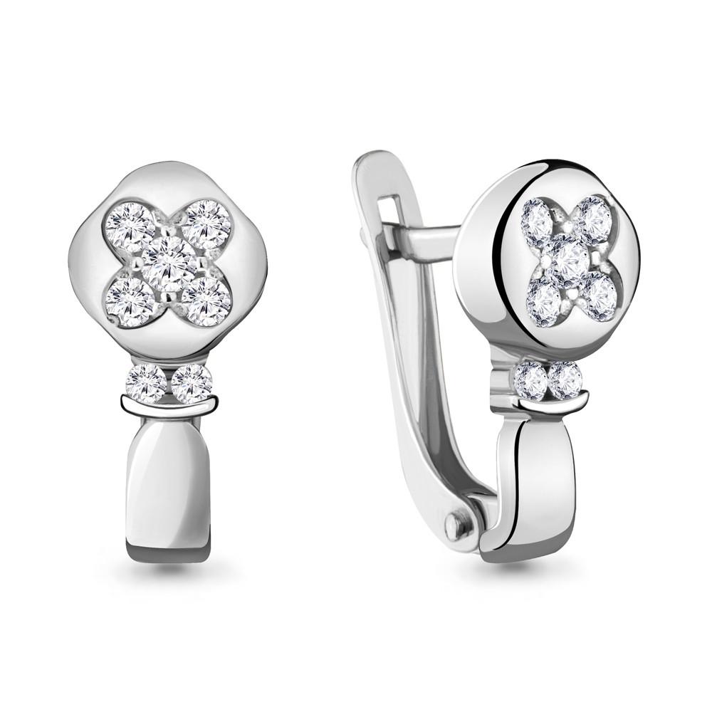 Серебряные серьги-классические с фианитом AQUAMARINE (#711884)
