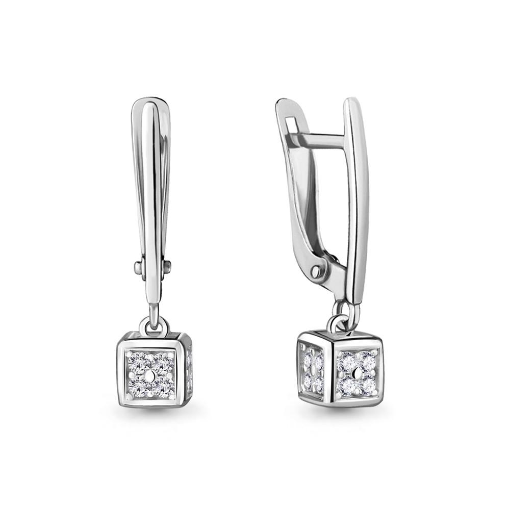 Серебряные Серьги-подвески с фианитом AQUAMARINE (#716890)