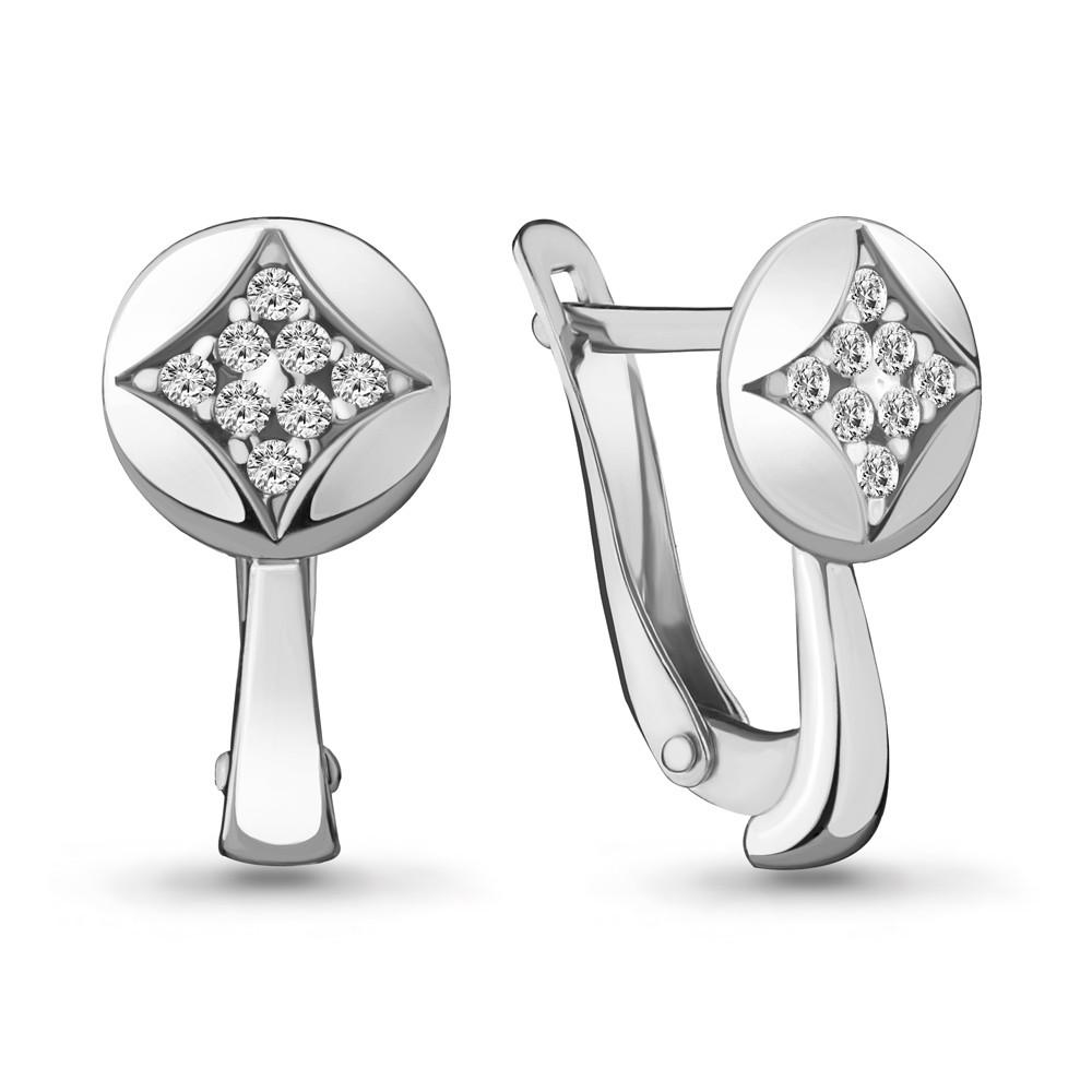 Серебряные серьги-классические с фианитом AQUAMARINE (#706458)