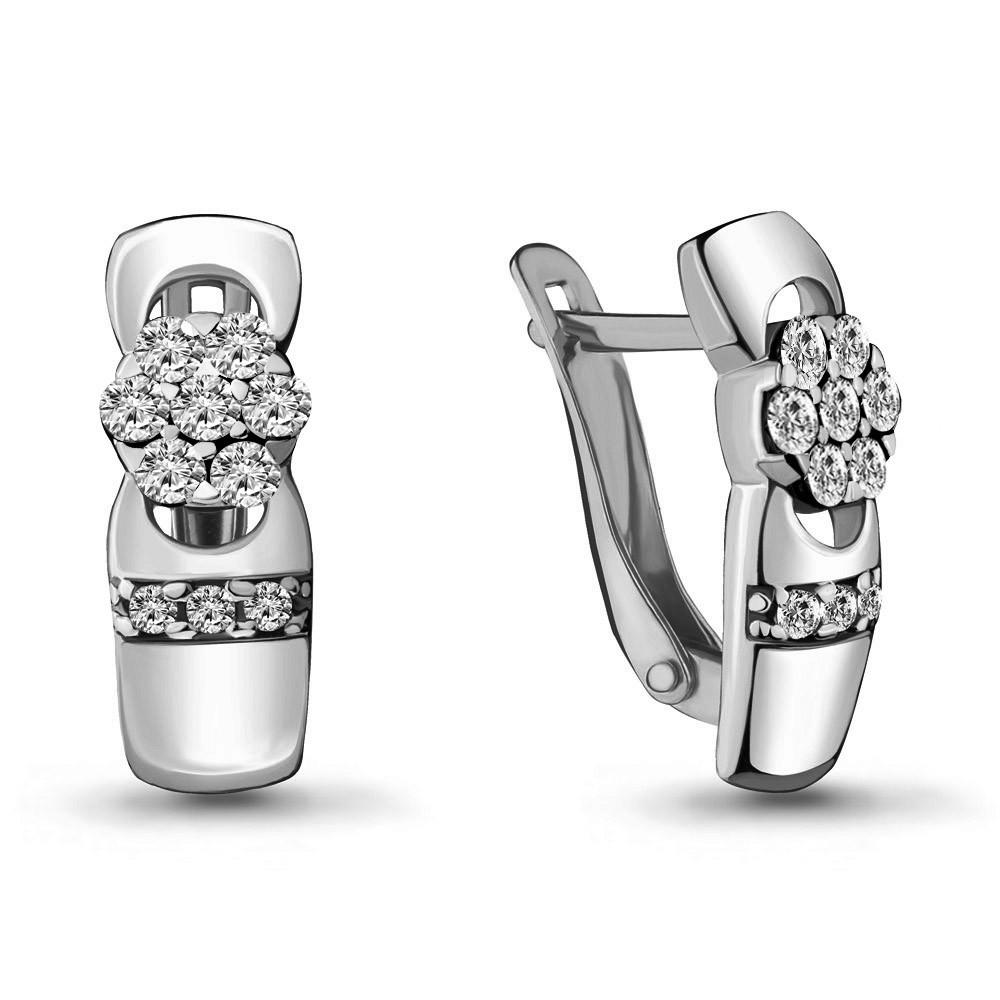 Серебряные серьги-классические с фианитом AQUAMARINE (#706451)