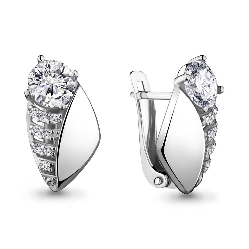 Серебряные серьги-классические с фианитом AQUAMARINE (#706483)