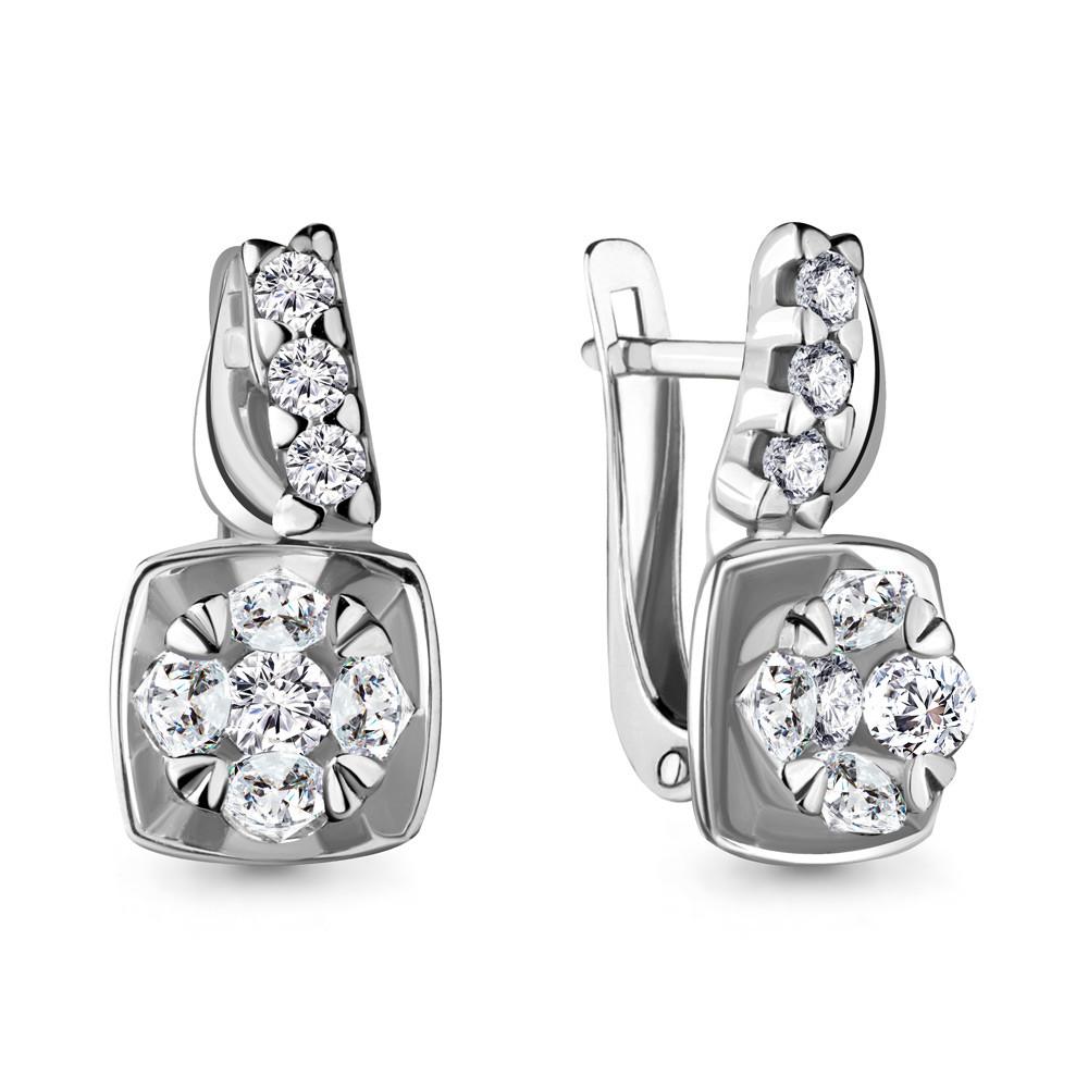 Серебряные серьги-классические с фианитом AQUAMARINE (#716891)