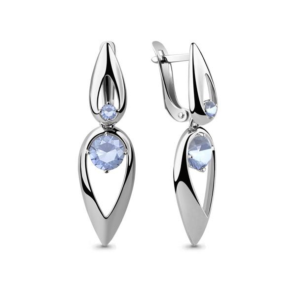 Серебряные Серьги-подвески с фианитом AQUAMARINE (#664409)