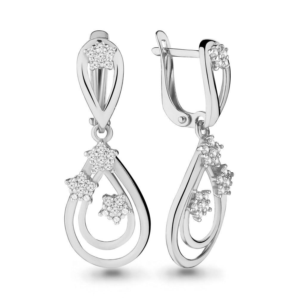Серебряные Серьги-подвески с фианитом AQUAMARINE (#657308)