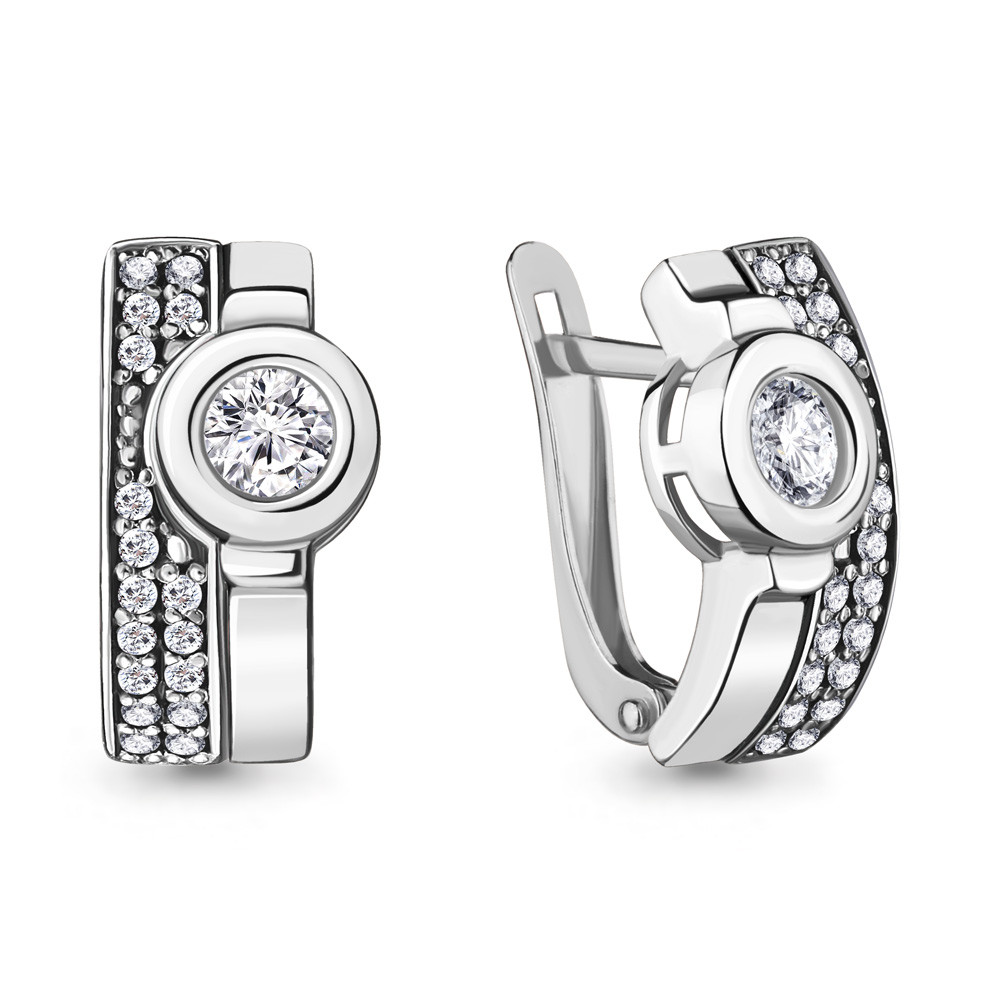Серебряные серьги-классические с фианитом AQUAMARINE (#706459)