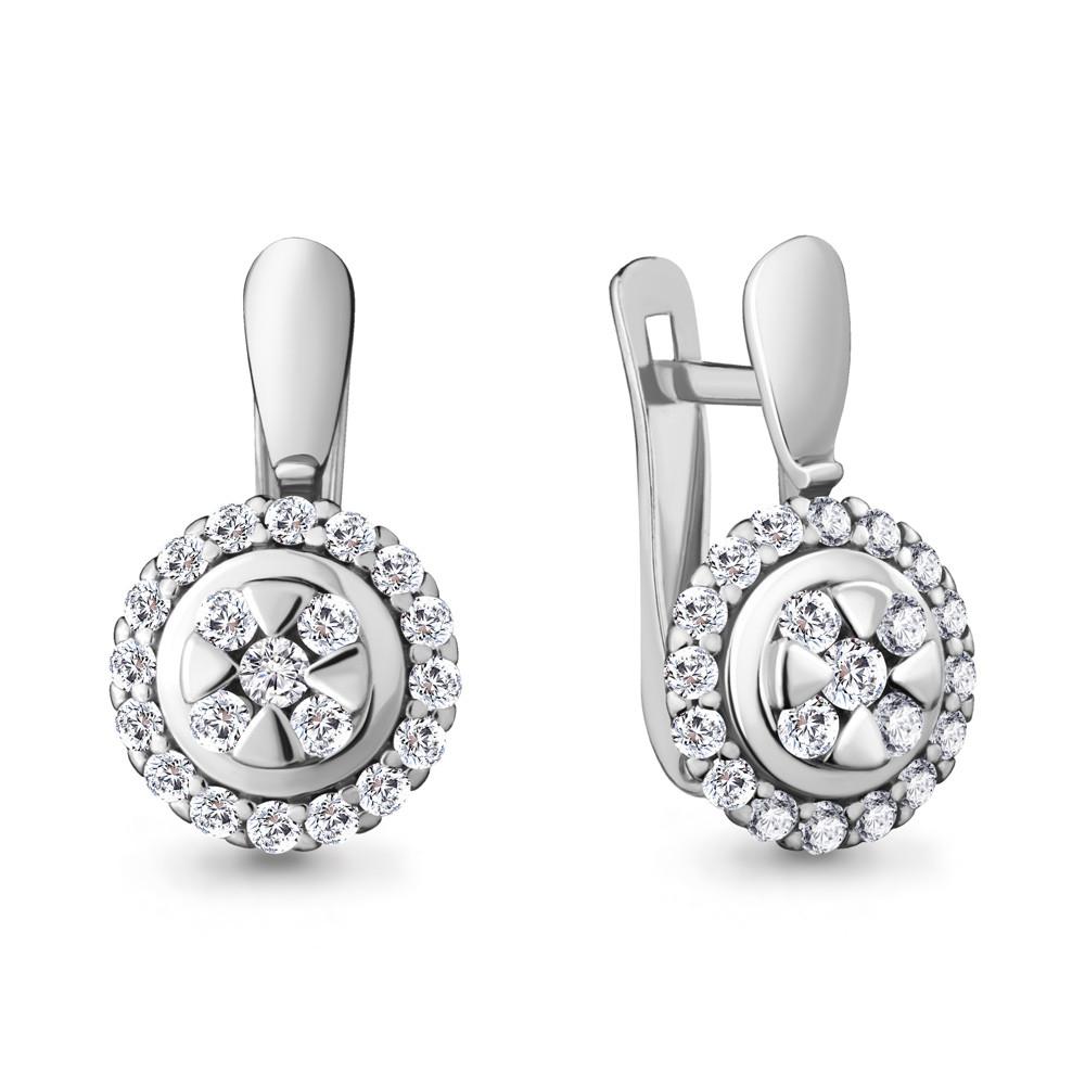Серебряные серьги-классические с фианитом AQUAMARINE (#711787)