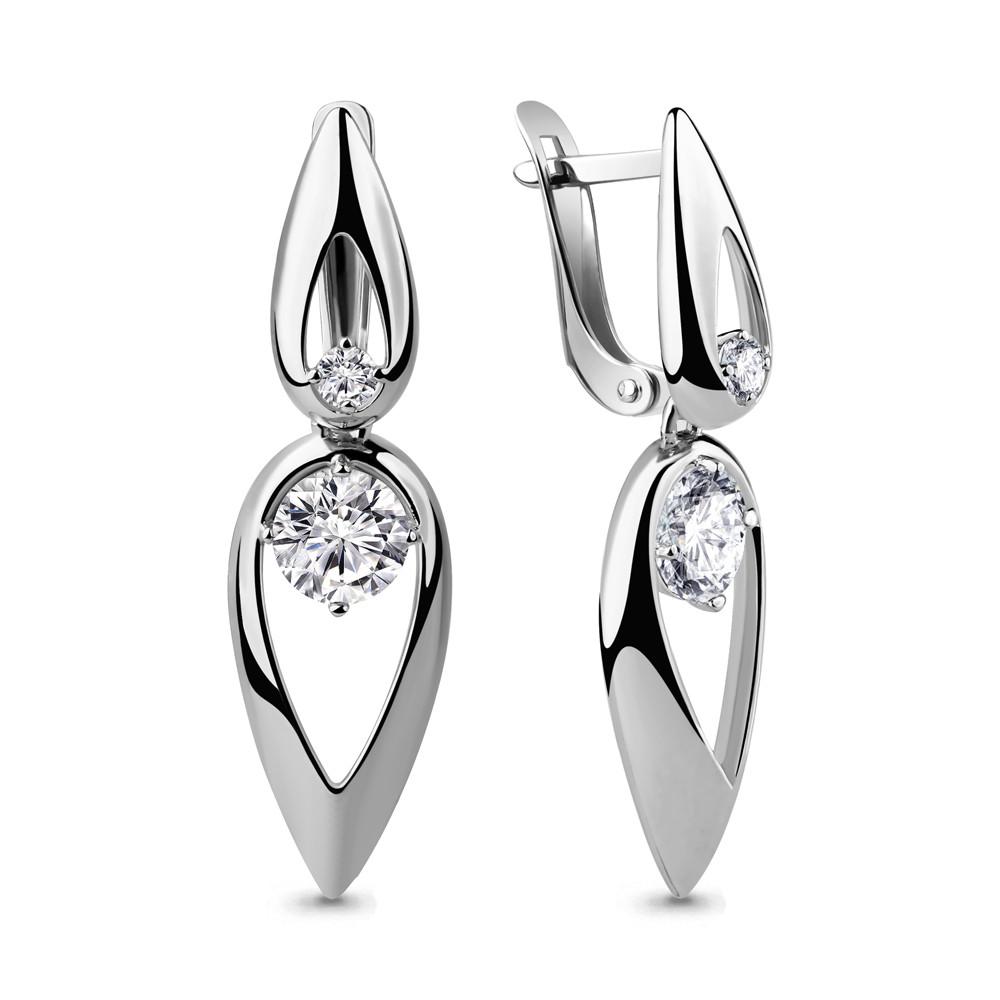 Серебряные Серьги-подвески с фианитом AQUAMARINE (#711543)