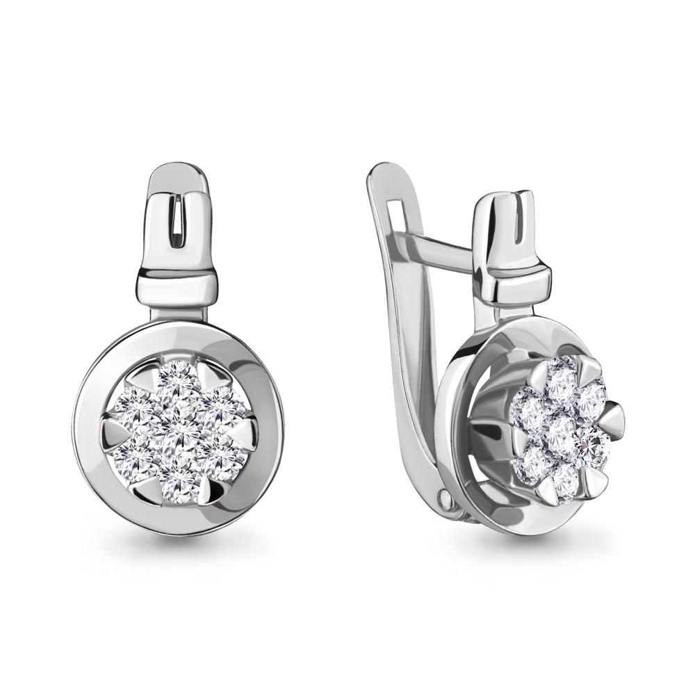 Серебряные серьги-классические с фианитом AQUAMARINE (#704770)