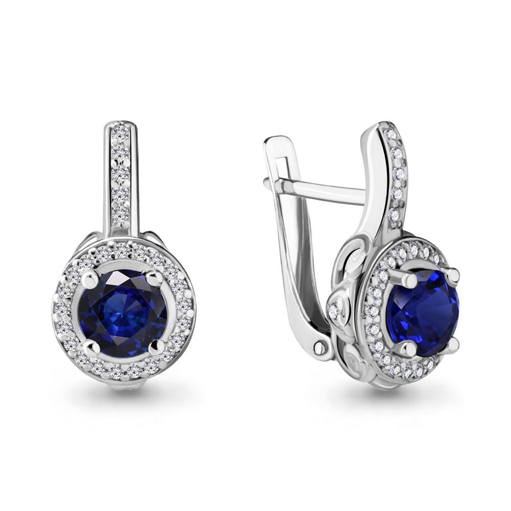 Серебряные серьги-классические с фианитом AQUAMARINE (#485138)