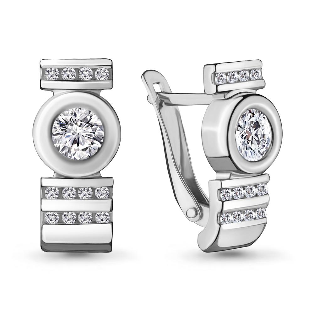 Серебряные серьги-классические с фианитом AQUAMARINE (#706460)