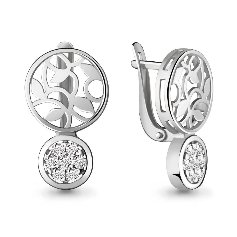 Серебряные серьги-классические с фианитом AQUAMARINE (#703808)