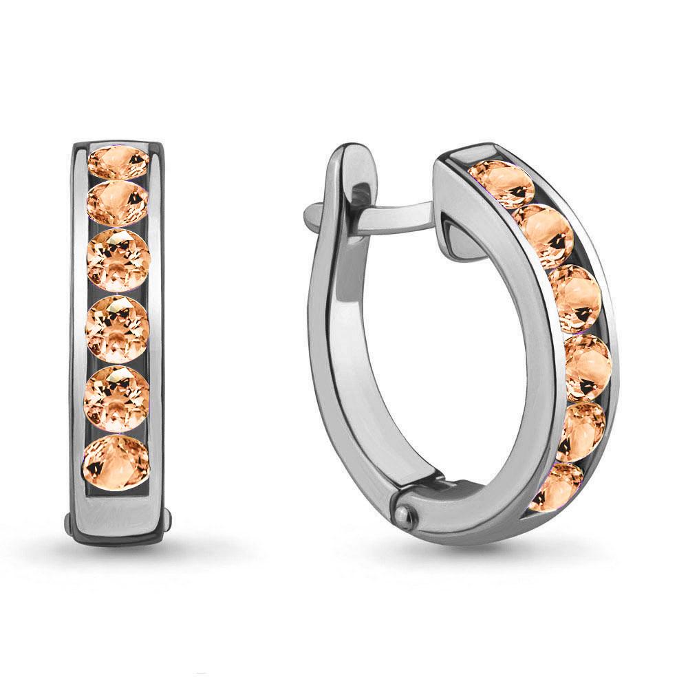 Серебряные серьги-кольца с фианитом AQUAMARINE (#711743)