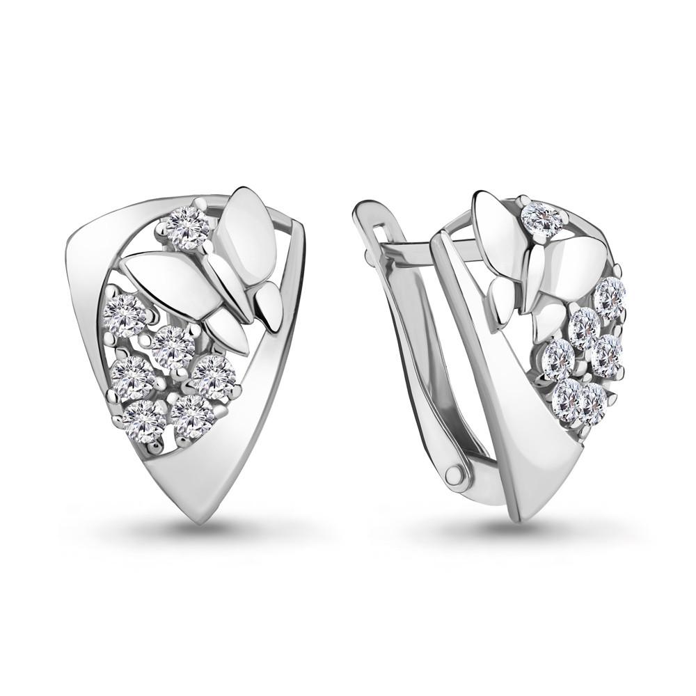 Серебряные серьги-классические с фианитом AQUAMARINE (#711557)